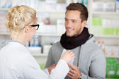Happy Customer Buying Medicine At The Pharmacy — Stock Photo