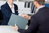 Midsection Of Handshake While Job Interviewing — Stock Photo