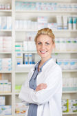 Confident Female Pharmacist At Drugstore — Stock Photo