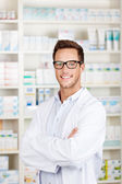 Confident Male Pharmacist At Drugstore — Stock Photo