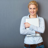 Portrait Of Smiling Woman With Laptop — Stock Photo