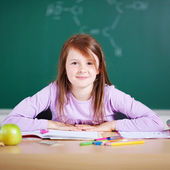 Smiling young girl in school — Foto de Stock