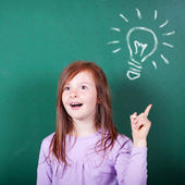 Young girl has a bright idea — Stock Photo