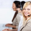 Young Customer Service Executive Wearing Headset In Office — Stock Photo