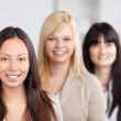 Multiethnic Businesswomen Smiling Together In Office — Stock Photo