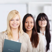 Multiethnic Businesswomen Standing Together In Office — Stock Photo