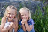 Two mischievous little sisters — Stock Photo