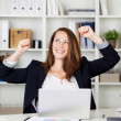 Stock Photo: Female expressing after achieving something