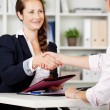 Two businesswomen shaking hands on a deal — Stock Photo #26626963