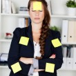 Concept photo of a female with sticky notes — Stock Photo