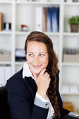 Beautiful Woman Smirking towards the right — Stock Photo