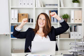 Female expressing after achieving something — Stock Photo