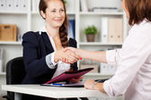 Two businesswomen shaking hands on a deal — Stock Photo