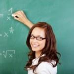 Teacher writing mathematical equations — Stock Photo #26658205
