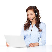 Telephone operator wearing a headset — Stock Photo