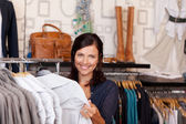 Customer Choosing Shirt In Clothing Store — Stock Photo