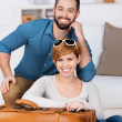 Happy Young Couple With Bag — Stock Photo #26739499