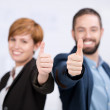 Business Man And Woman Showing Thumbs Up Sign — Stock Photo