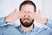 Businessman Covering His Eyes With Hands — Stock Photo