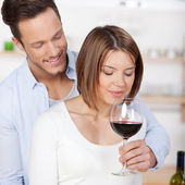 Smelling red wine — Stock Photo