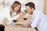 Couple with pizza — Stock Photo