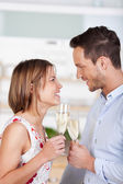 Dating with champagne — Stock Photo