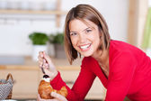 Croissant and breakfast — Stock Photo