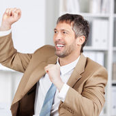 Businessman With Celebrating Victory — Stock Photo
