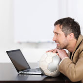 Businessman On Soccer Ball — Stock Photo