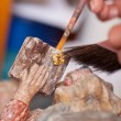 Woman's Hands Working On Statue In Workshop — Stock Photo