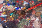 Paintbrush On Palette In Workshop — Stock Photo