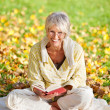 Smiling Senior Woman Reading Book In Park — Stock Photo