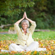 Stock Photo: Smiling Senior WomWith Hands Clasped Meditating