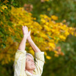 Senior Woman Doing Stretching Exercise In Park — Stock Photo
