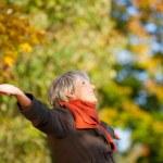Happy Senior Woman Enjoying Nature In Park — Stock Photo