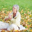 Senior Woman With Hands Clasped Meditating Outdoor — Stock Photo