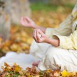 Woman Meditating In Lotus Position At Park — ストック写真