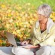 Senior Woman Using Laptop While Sitting In Park — Stock Photo