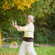 Smiling Senior Woman With Arms Raised Doing Yoga — Stock Photo
