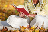Reading Book In Park — Stock Photo