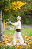 Senior Woman With Arms Raised Doing Yoga In Park — Stock Photo