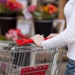 Woman Pushing Shopping Cart In Supermarket — Stock Photo