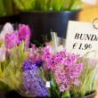 Various Flowers With Price Tag In Shop — Stock Photo