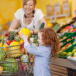 Girl Keeping Muskmelon In Shopping Cart While Mother Looking At — Stockfoto #26946949