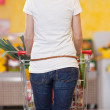 Woman Pushing Shopping Cart In Grocery Store — Stock Photo