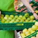 vrouwelijke werknemer bedrijf krat vol met appelen in kruidenierswinkelopslag — Stockfoto