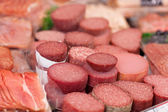 Meat In Refrigerated Section Of Supermarket — Stock Photo