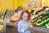Girl Reading Checklist While Holding Apple At Grocery Store — Stock Photo