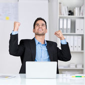 Successful businessman rejoicing — Stock Photo