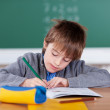 Young schoolboy writing in his exercise book — Stock Photo #27049083